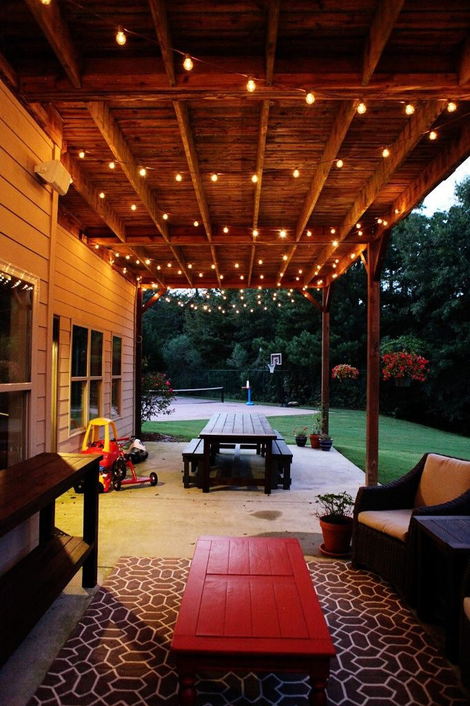 outdoor patio lights - she has some ideas for how to install them without Jeff getting electrocuted (not that we wouldnt like to see him do an impression of squirrels in his grandads backyard lol)