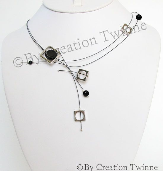 collier noir, métallique carré, agate, collier urbain, moderne collier, collier de demoiselles d'honneur, élégant collier, collier mariage, ...