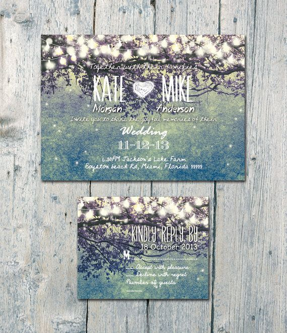 Set of 100 - Teal - Romantic Garden and Night Light Wedding Invitation and Reply Card Set - Wedding Stationery - ID210T