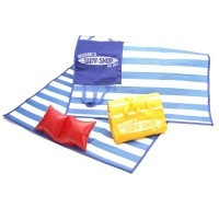 A great favor for your pool party or beach-themed bash. Each sturdy woven plastic beach mat measures 5 feet, 9 inches long and just under 3 feet wide so it's plenty roomy for kids and adults. The mat has an attached, inflatable pillow and the whole thing easily converts into a handy carrying case that measures 12 inches wide and 9 inches tall.