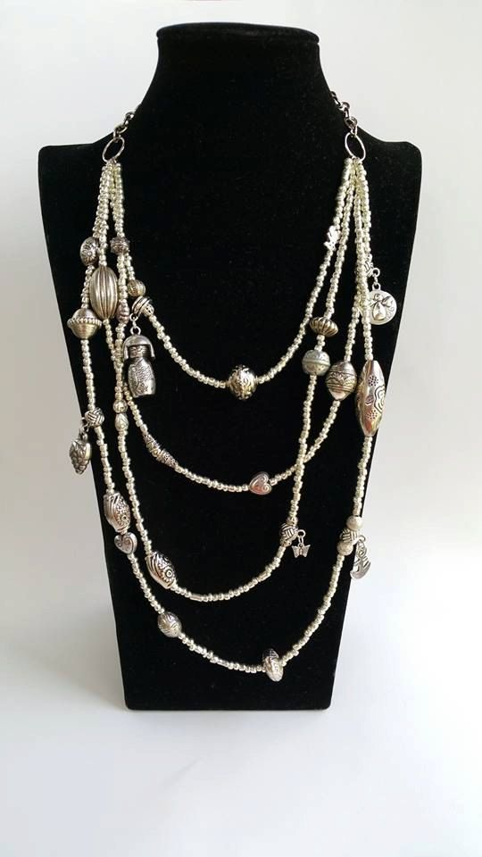 Statement Necklace  Silver Mixedmedia neckart  by TresJoliePT  #necklace #silvernecklace #jewelry #layering