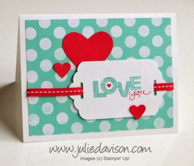 Fresh Prints Valentine - Use Stampin' Up! Tag Topper Punch to punch both ends and thread a ribbon through the tag
