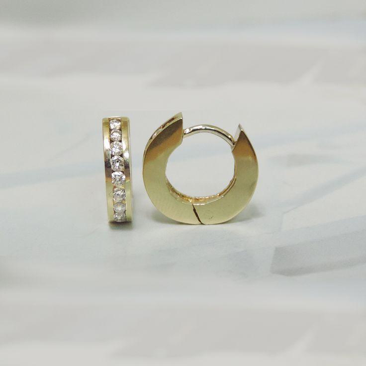 14K YELLOW GOLD .50 CTTW DIAMOND HUGGIE HOOPS GREAT STARTER EARRINGS HINT HINT