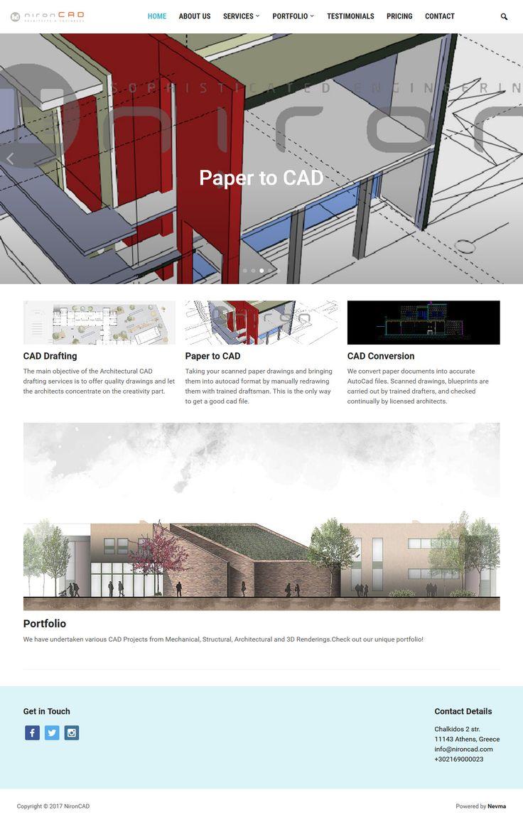 Η Niron Cad μετατρέπει τα έντυπα αρχιτεκτονικά και τεχνικά σχέδια σε υψηλής ποιότητας σχέδια σε ηλεκτρονική μορφή (CAD). Η εταιρεία μπορεί να προσφέρει CADs από πολλά διαφορετικά πεδία όπως της αρχιτεκτονικής, του σχεδιασμού προϊόντων, μηχανικά – ηλεκτρονικά σχέδια κ.α. Κατασκευάσαμε την εταιρική ιστοσελίδα της Niron Cad στην αγγλική γλώσσα. Στο site nironcad.com γίνεται παρουσίαση της εταιρείας, των έργων της και των προσφερόμενων υπηρεσιών.