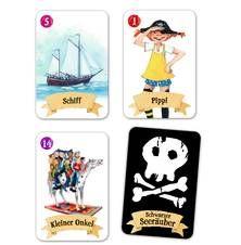 Pippi Langstrumpf: Kartenspiel Schwarzer Seeräuber. Bei Wind und Wetter ist es drinnen am gemütlichsten. Gespielt wird dann z. B. eine Runde Schwarzer Seeräuber  Für 2-4 Spieler ab 4 Jahren.