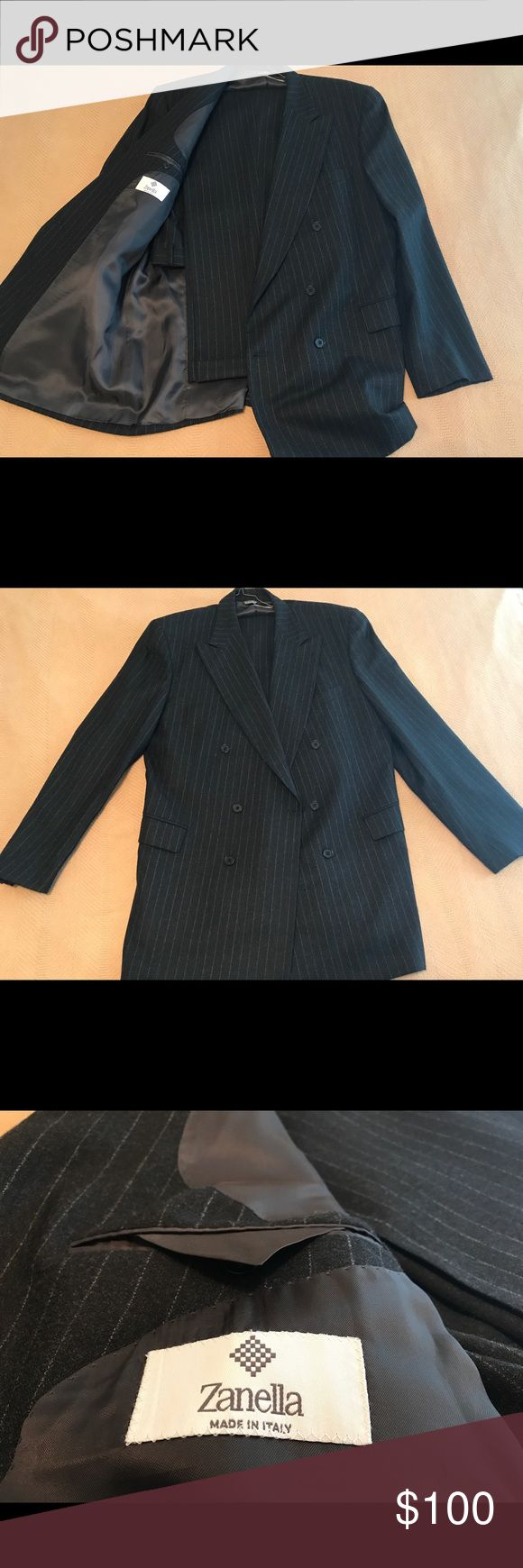 Like new Zanella suit price reduced This high quality Italian made suit will make you look and feel like a winner. The 100% wool fabric is incredibly soft and along with the legendary Italian craftsmanship makes this suit the perfect investment for your professional wardrobe. Both the trousers and jacket are in like new condition with no defects. Cross posted, own this luxury Italian suit while it's here!   Measurements:  Jacket,  44L Trousers,  inseam 32 Outseam 44 Waist 38 Zanella Suits…