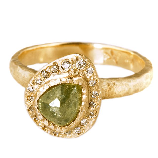 Raw Rosecut Pear Ring         Raw Rosecut Pear shaped rough diamond engagment  Ring     14k gold and diamonds            from $3600