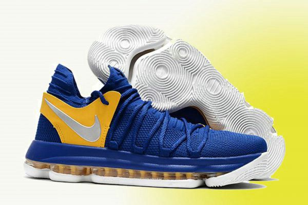 Nike Kevin Durant Shop with Confidence Nike KD 10 Golden State Warriors Blue Yellow Silver