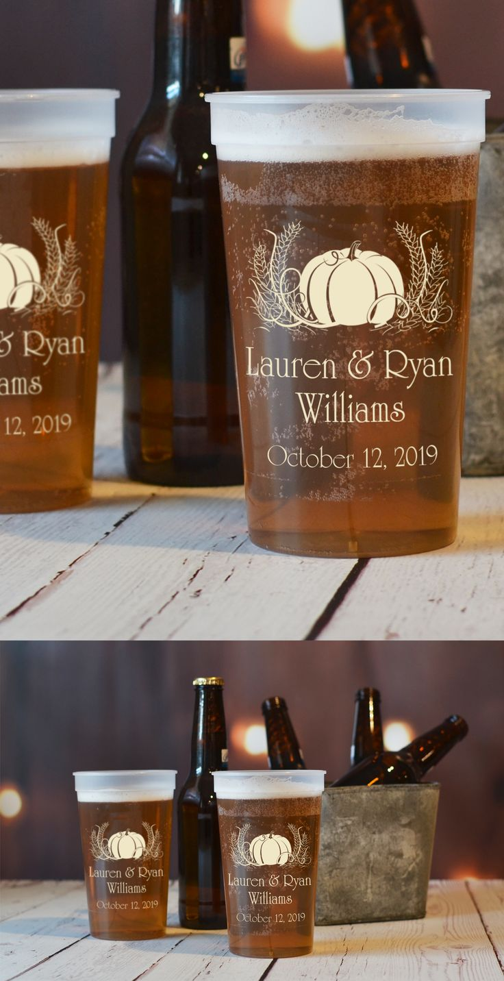 Embrace the essence of autumn at your fall engagement party, bridal shower, or wedding reception with reusable 22 ounce plastic souvenir cups personalized with your choice of fall theme design and up to 4 lines of custom print for wedding souvenirs. Pumpkins, leaves, trees, deer antlers, and cornucopias are classic shapes that will add the feel of autumn to your wedding reception. These cups can be ordered at…