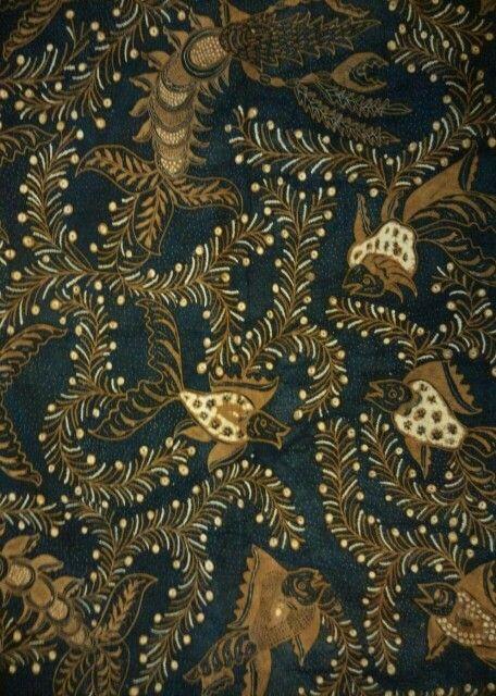 Batik iwak ganggeng/fish and seaweed 1950~1960 origin solo.color sogan.