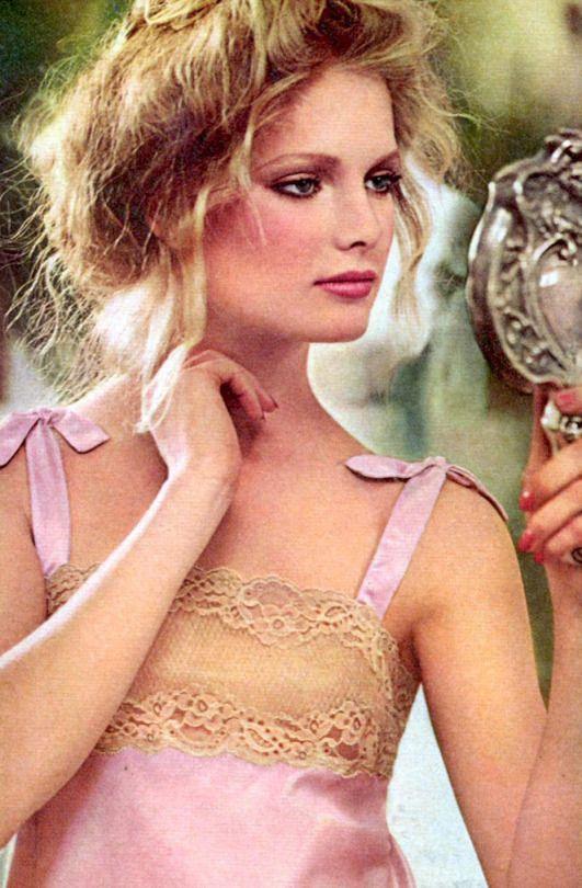 Model Lisa Cooper in pink lingerie, Vogue, 1978