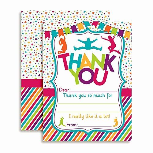 Thank You Cards For Kids Birthday Unique Jump Bounce Play Thank You Notes Girl Kids Cards Kids Birthday Birthday Template