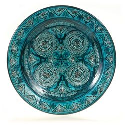 Teal Carved Large Decorative Plate