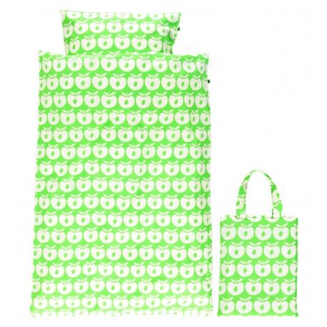 Bed linen adult 200x135cm, green with apples, Smafolk