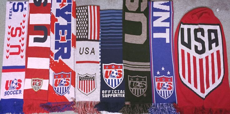 """US Soccer Crest history through my [a] scarf collection"""