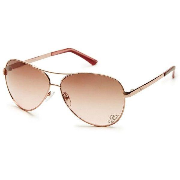 GUESS Kylie Aviator Sunglasses ($78) ❤ liked on Polyvore featuring accessories, eyewear, sunglasses, glasses, rose gold, logo sunglasses, rose gold aviator sunglasses, guess glasses, rose gold aviators and guess eyewear