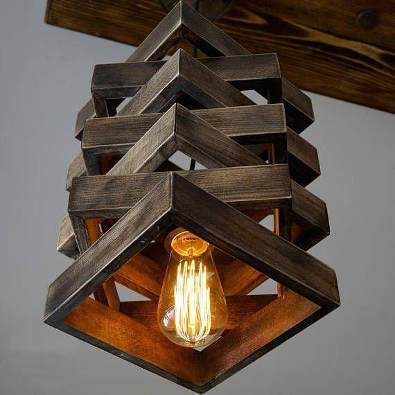 Grina Unique Pendant Light Wood Lamp Hanging Lamp Wood