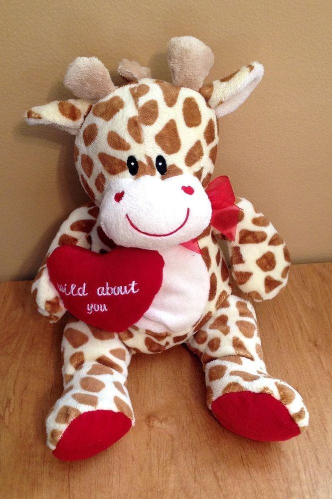 Musical Valentine Plush Toys : Valentines day giraffe wild about you red heart hearts