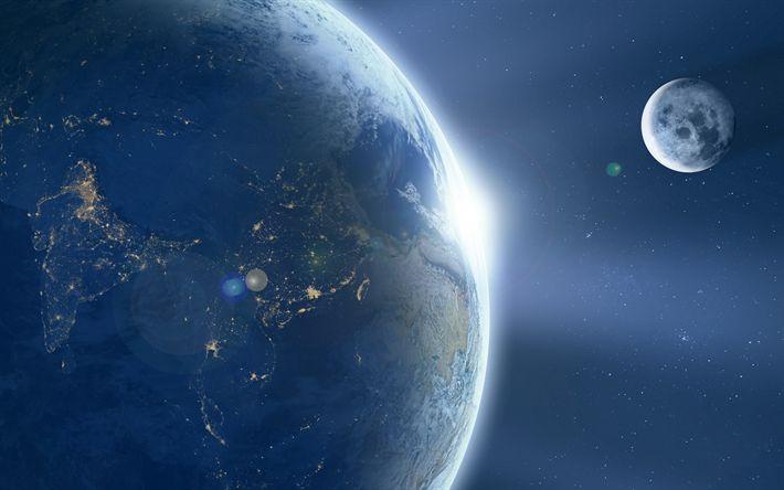 Download wallpapers 4k, earth, moon, sci-fi, galaxy, universe, satellite