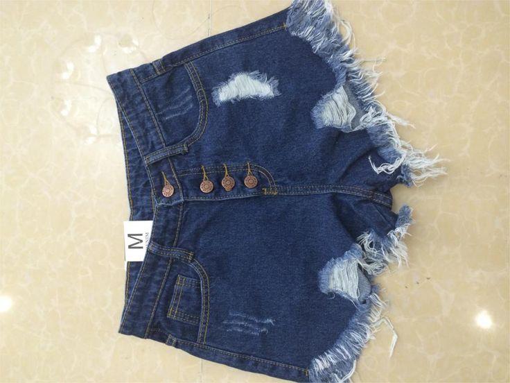 2016 Европейских и Американских BF летний ветер женский синий высокой талией джинсовые шорты женщин носить свободные заусенцев отверстие джинсы шорты плюс размер купить на AliExpress