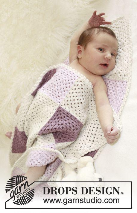 "Crochet DROPS blanket with squares in ""BabyAlpaca Silk"". freebie: thanks so xox"