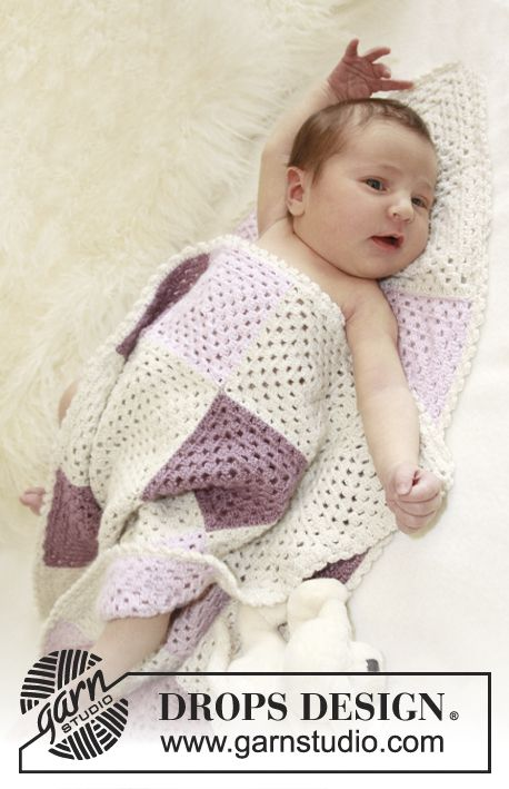 """Crochet DROPS blanket with squares in """"BabyAlpaca Silk"""".     beautiful baby blanket.... I'm thinking this is my next project."""