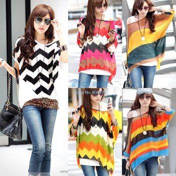 Korea Style 2014 Loose Stripe Shirt Sexy Womens Batwing Dolman Sleeve Chiffon Shirt Bohemian Tops Oversized Blouse SV000375