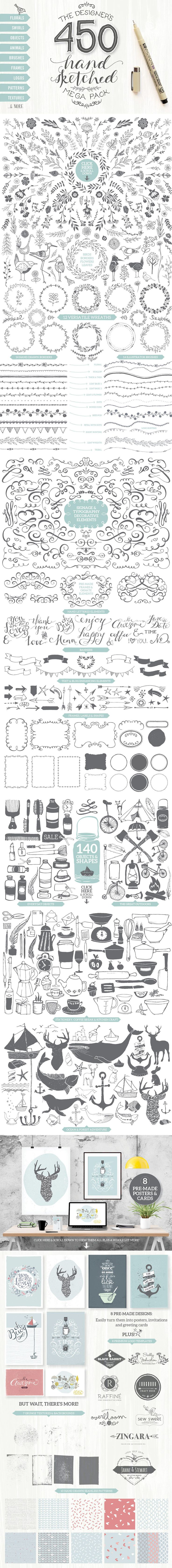 The Essential, Creative Design Arsenal (1000s of Best-Selling Resources) Just $29 - Designer's Hand Sketched Megapack by Lisa Glanz