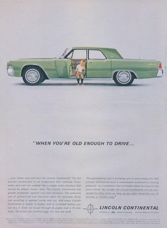 1962 Ford Lincoln Continental Car Ad Little Boy by AdVintageCom