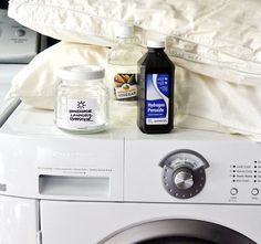 How to Naturally Whiten Pillows.  I just did this.  I used peroxide, vinegar and bleach on the soak.  Then laundry detergent, oxy-clean and more bleach on the wash cycle.  Worked really well but maybe not so natural with the addition of bleach.  .  Jeana