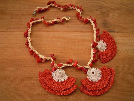 crochet necklace short brick red by PashaBodrum on Etsy