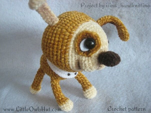 Project by irina_handknitting. Puppy with a collar crochet pattern by Pertseva for LittleOwlsHut. #LittleOwlsHut, #Amigurumi, #CrohetPattern, #Crochet, #Crocheted, #Puppy, #Pertseva, #DIY, #Craft, #Pattern