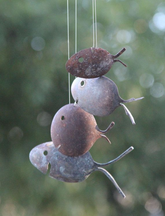 These Rustic Spoon Fish Wind Chimes are up cycled from vintage flatware spoons. These adorable fish have aged to a gorgeous patina, preserved in this