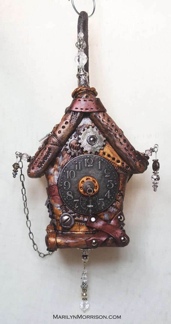 Steampunk Polymer Clay Hanging Birdhouse by NyliramClayFun on Etsy