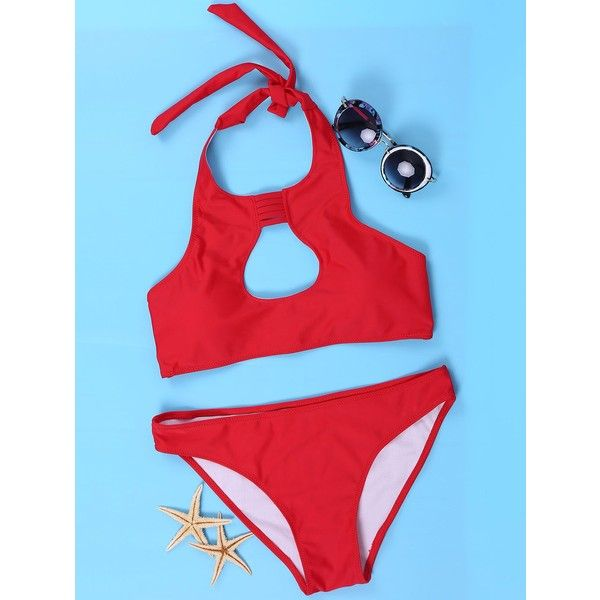 Women s Sexy Halter Red Cut Out Bikini Suit ($8.81) ❤ liked on Polyvore featuring swimwear, bikinis, halter bikini, sexy swimwear, sexy bikini swimwear, halter bikini tops and cut-out bikinis