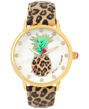 Betsey Johnson Women's Brown Leopard Printed Leather Strap Watch 42mm BJ00496-60 - Brown