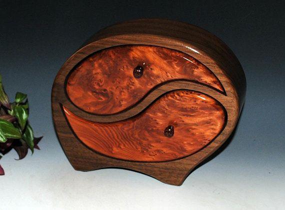 Handmade Wooden Yin Yang Jewelry Box in Walnut & Redwood Burl-Art Jewelry Box-Wedding Gift Wood Jewelry Box Wooden Jewelry Box Anniversay by BurlWoodBox
