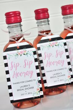 Bridal Shower Favor Tags for Mini Wine Bottles by sosweetpartyshop