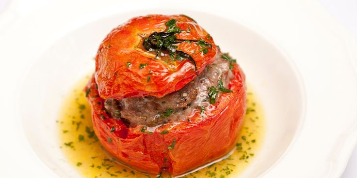 Henry Harris's tomato farcies recipe is a classic - big juicy tomatoes stuffed with rich Toulouse sausage meat. A brilliant comfort food dish