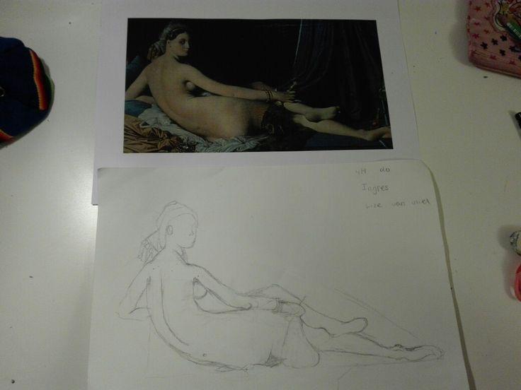 Hier zie je een ''tussenstop'' tussen het begin van de tekening en  het eindresultaat.