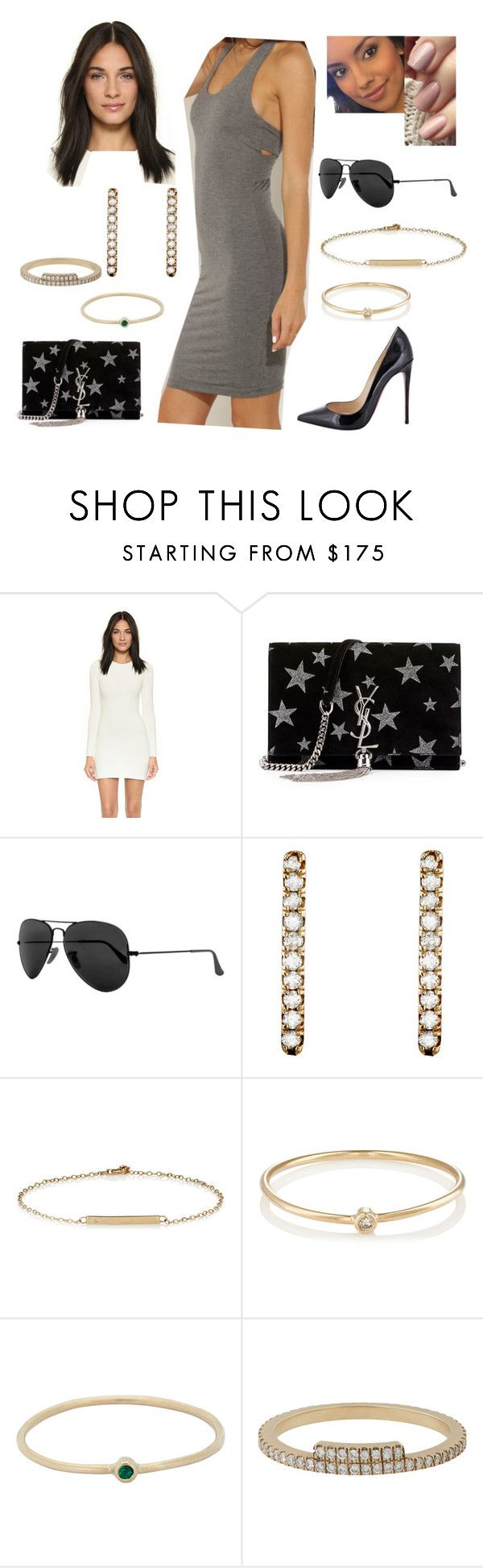 """Bez tytułu #17347"" by sophies18 ❤ liked on Polyvore featuring Christian Louboutin, Torn by Ronny Kobo, Yves Saint Laurent, Ray-Ban, Grace Lee Designs, Loren Stewart, Jennifer Meyer Jewelry and Monique Péan"