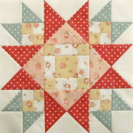 "Mystery Block of the Month 7 - Pretty by Hand - Pretty By Hand=12.5 "" unfinished"