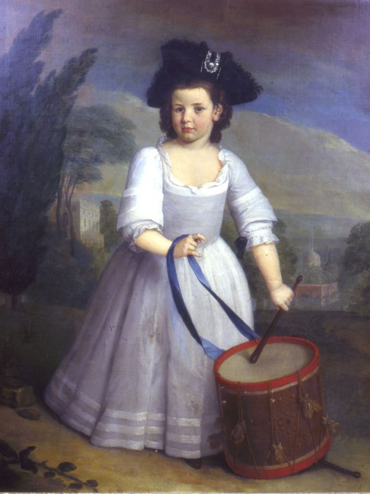 "John Clarke as a Boy, by George Beare, 1743. Boys were dressed in skirts until they were ""breeched""(put into breeches anywhere from age 4 or 5 to 7 yrs) but the toys and hat show that this child is definitely male. :) Note: Click on image and scroll to see more Beare paintings"
