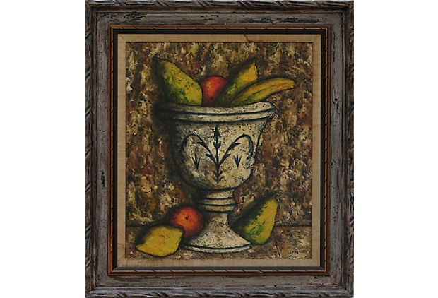 """Midcentury still life of a bowl of fruit by French artist Jean Marque. Displayed in a gray painted wood frame with gold inner band. Signed """"J. Marque"""" lower right. Canvas, 23""""L x 19.5""""W. $750/435."""