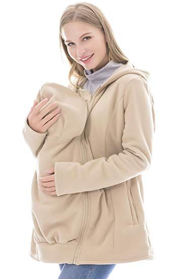 763bbf1051672 Smallshow Women's Fleece Zip Up Maternity Baby Carrier Hoodie Sweatshirts  Jacket Small Beige
