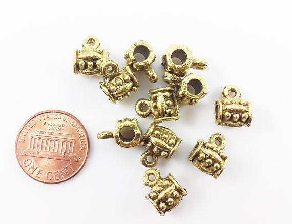 10 Antique Gold Tibetan Style Charm HOLDER Bail Beads 12x9mm