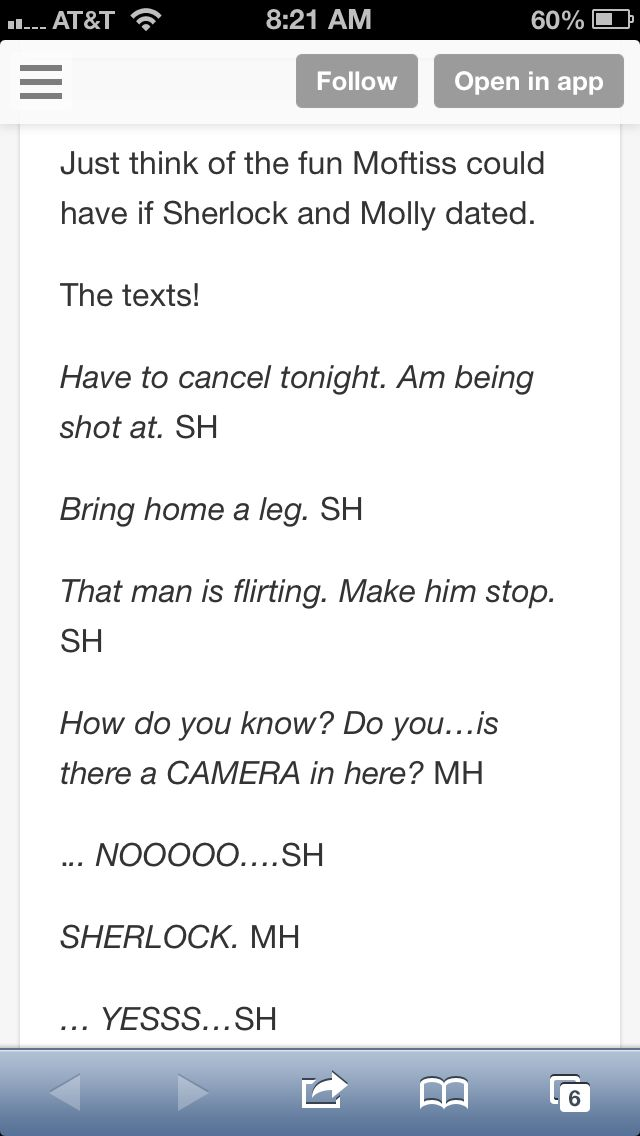 Sherlolly texts bahahahahahahahahaha oh that would be fun to watch