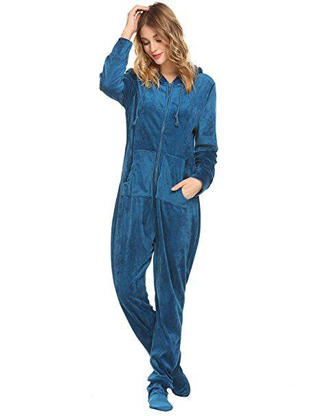 wholesale dealer 3832b 6bb83 HOTOUCH Damen Jumpsuit Langarm Schlafanzug Erwachsene Pyjama ...