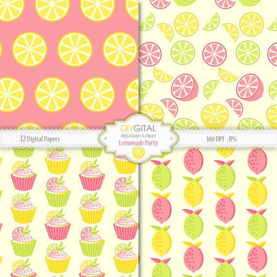 Fondos de fruta limonada party documentos digitales de
