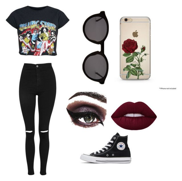 """""""Rolling Stones"""" by mystyleisme on Polyvore featuring Topshop, Thierry Lasry, Concrete Minerals and Converse"""